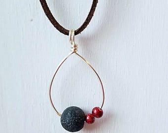 Teardrop Diffuser Necklace, Lava Bead, Red Beads, Essential Oil Necklace, Leather Cord Necklace