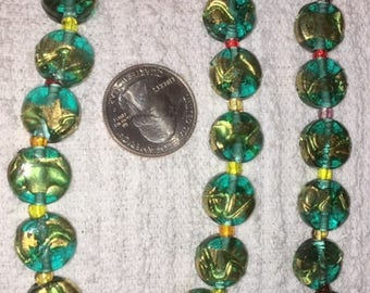 Dark Teal CLEAR DISC lamp work beads with Gold Foil (10) 14MM disc bead coin bead