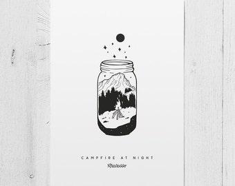 Poster Art Print - Campfire at Night - Mountains Moon Star Woods Jar Campfire