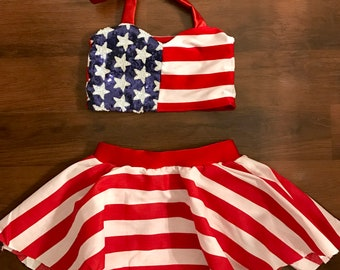 Girls 4th of July Independence Day Memorial Day skirt and crop top set