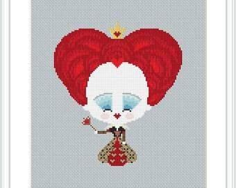 Disney cross stitch pattern Red Queen Alice in Wonderland Queen Of Hearts Disney Modern Counted Cross Stitch Pattern Instant Download X231