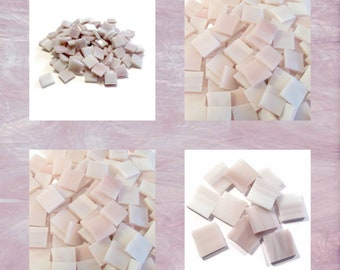 Pale Purple Squares Stained Glass Mosaic Tiles Hand Cut Opal Spectrum