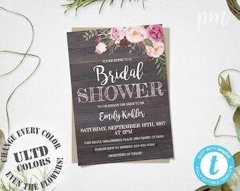 Rustic Floral Bridal Shower Invitation Template, Printable Rustic Bridal Shower Template, Barn Wood Bridal Shower Invite, Instant Download