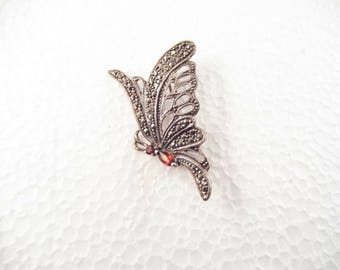 Marcasite Sterling Silver Butterfly Brooch with Ruby Colored Glass Stone, Mint Condition