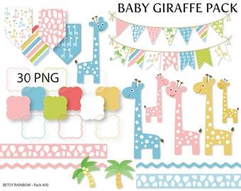 Baby Giraffe clipart pack, giraffe clipart, baby giraffe, scrapbook supplies - BR 400