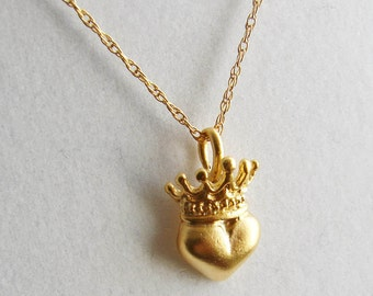 Heart and Crown Claddagh Inspired Necklace. St Patrick's Day. Matte Gold Vermeil Charm. Simple Modern Jewelry by PetitBlue