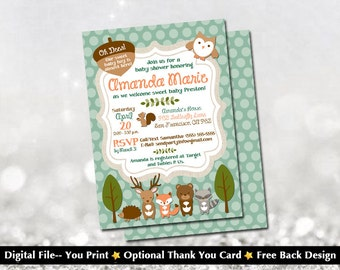 "Woodland Creatures Baby Shower Invitation with FREE Back Design (Free ""Bring a Book"" Back Design)!"