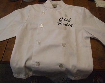 Personalized or Monogrammed Child Chef Coat - WHITE 3 sizes - YOU choose font & thread