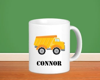 Construction Kids Personalized Poly Mug - Construction Truck Vehicle with Name, Child Personalized Poly Mug Gift