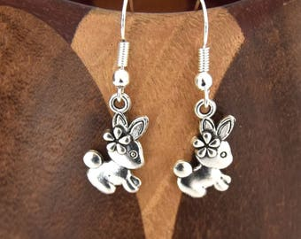 Earrings little bunny with flower, small clips rabbit with Silver flower