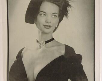 Print Advertisment Sensational Dior Dress Bergdorf Goodman VTG 1947 Mounted