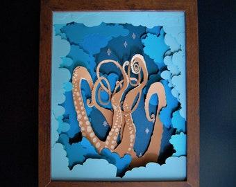 Whimsical Nautical Sky Framed Paper Art