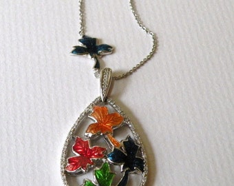 Sterling Silver Necklace amd Chain Colourful Leaves