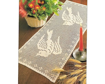 Crochet Pattern For Dove Table Runner - PDF Instant Pattern Download - Rectangle Dove-patterned Runner Is 11 x 25 Inches:  Easy Pattern