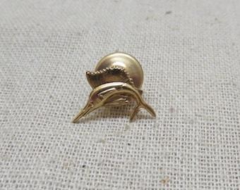 Vintage 14KT Gold Swordfish Tie Tack or Lapel Pin