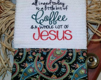 Tea towel for the coffee lover with a heart for Jesus!