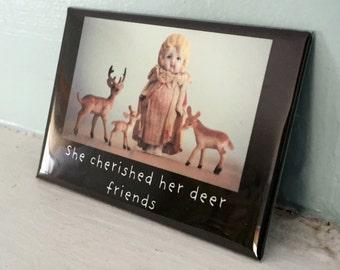 "Antique Porcelain Doll Magnet Adventures of Claudia ""Deer Friends"" Woodland Animals Art"