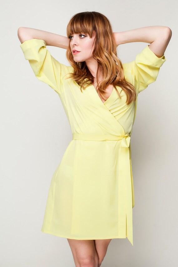 Lemon Yellow Kimono Dressing Gown / Yellow Bridesmaid & Brides