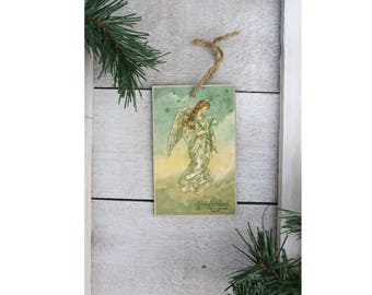 Vintage Christmas Angel Wood Ornament