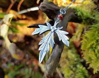 Aconitum napellus - Aconite (Monkshood, Wolf's Bane) Pendant in Fine Silver, Garnet  by Quintessential Arts