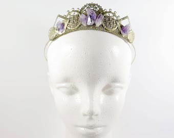 Elaria Amethyst and Gold Filigree Crystal Tiara - by Loschy Designs