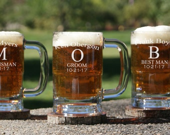 8 Personalized Beer Mugs / Groomsmen Gifts / Beer Glass with Handle / Custom Engraved Mug / Etched Glassware / Wedding Party Gift / Best Man