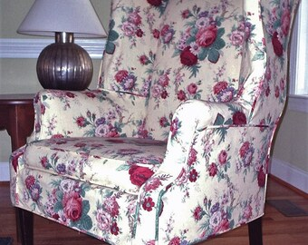 Have a custom wingchair slipcover made for your chair from your own fabric!