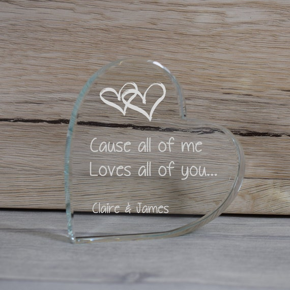 Glass Love Token Paperweight