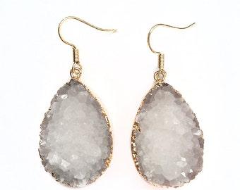 White Druzy Teardrop Earrings - Gold Earrings - Druzy Earrings - Druzy Jewelry - Dangle Earrings - Statement Earrings - Druzy Stone - Drop