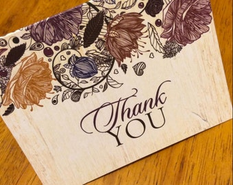 Floral Fall Autumn Thank You Cards - set of 10, Rustic Thank You Cards, Thank You Note cards