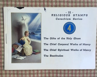 Vintage Catholic Catechism Stamps 1960s Booklet of 32