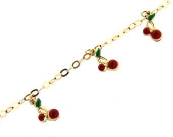 18 Kt Yellow Gold Cherry enamel bracelet 6 inches