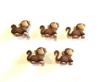 Monkey Buttons Noah's Animals Dress It Up Buttons Jesse James Buttons Set of 5 Shank Back Small Craft Hair Card Scrapbook Supply - 783 A