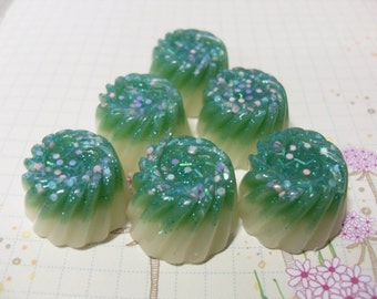 5x Cute Mint Jelly Whirl Resin Cabochons Jello