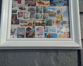 American Stamp Collection #1; Used American Postage Stamps; Collage; Stamp Art; Homemade; Handmade