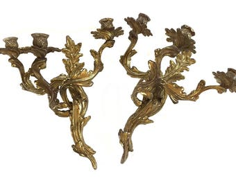 Vintage Pair Brass French Rococo 3 Candle Wall Sconces  Louis XV Style