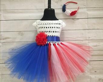 REDUCED Handmade-Flower-Girl-Dress-Patriotic-American-Flag-Tutu-Dress,Birthday Dress,Handmade tutu knitted top dress,-size-3-4-years