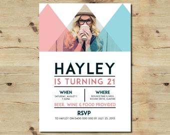 Custom Designed Birthday Invitation - Geometric - 21st - 18th - Party Invitation