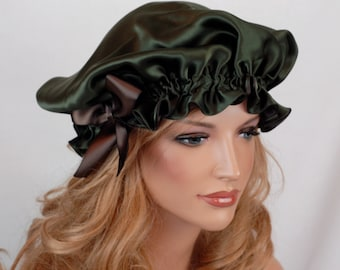 Silk Sleep Bonnet, Pine and Espresso Charmeuse, Fully Adjustable Bow Drawstring Attached to Elastic, Reversible Sleep Cap for Hair Care