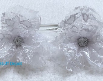 Petal Flower, Shabby Chic, Lace Rosette, Flower Embellishment, Package Topper, Hair Ornament, Brooch, Trim, Book Cover