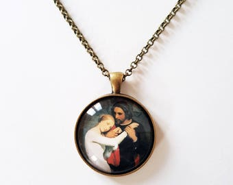 Scheffer 'Faust et Marguerite', 30mm round pendant in silver or antique bronze, includes complimentary chain