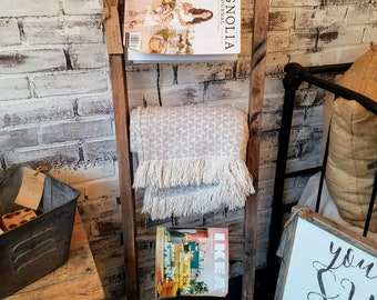Blanket Ladder - Rustic - Farmhouse - Office - Family - Barnwood - Reclaimed - Barn - Organization - Magazine Rack - Gift - Mother's Day