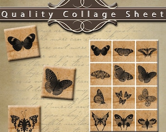 "Vintage Butterflies 1.25"" Squares Digital Collage Sheet"