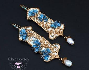 Floral earrings Art Nouveau earrings Statement earrings Dangle earrings Vintage earrings Pearls earrings Bluet earrings Polymer clay jewelry