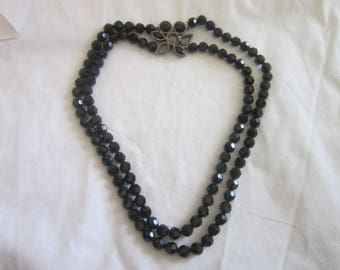 Vintage Faceted Black Glass Beaded Double Strand Necklace