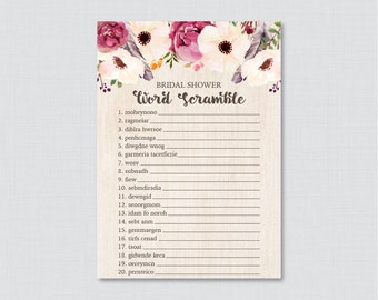 Boho Bridal Shower Word Scramble - Printable Bohemian Bridal Shower Game - Wedding Shower Word Scramble Game with Flowers and Feathers 0006