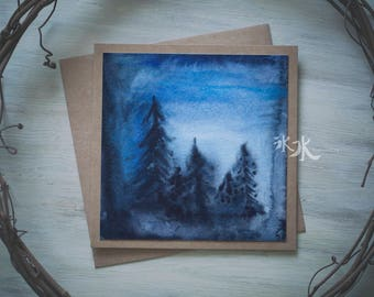 Watercolor Card - Obscure forest - Abstract art