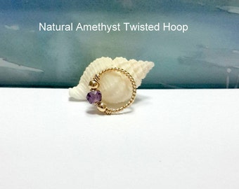 22g 20g 18g Gold Twisted  Natural Stone Hoop, Helix, Tragus, Septum, Nose Ring, 14K Yellow Gold Filled Twisted Ring, Gifts, Valentine's Day