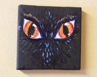 """3"""" x 3"""" Nocturnal Creature mini painting, acrylic on canvas"""