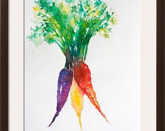 Vegetable watercolor painting-- original watercolor, carrot watercolor, root vegetables illustration, kitchen art